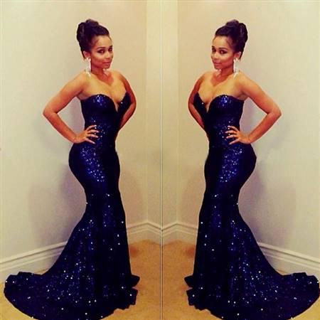 strapless dark blue prom dresses