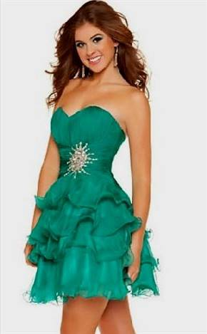 strapless green cocktail dress