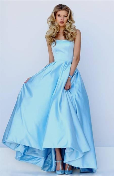 strapless light blue prom dresses