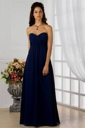 strapless navy blue bridesmaid dresses