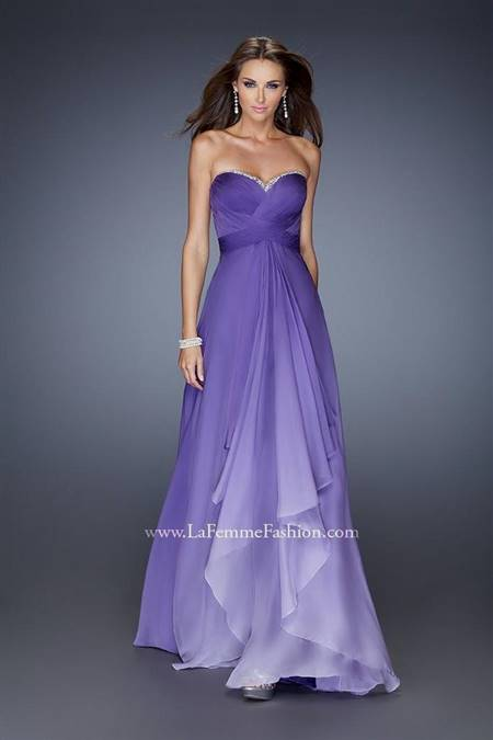 strapless purple prom dresses