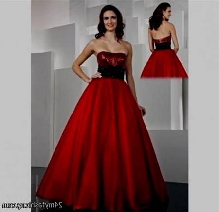 strapless red and black prom dresses