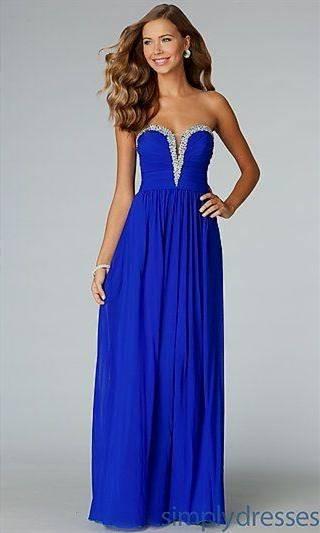 strapless royal blue dresses