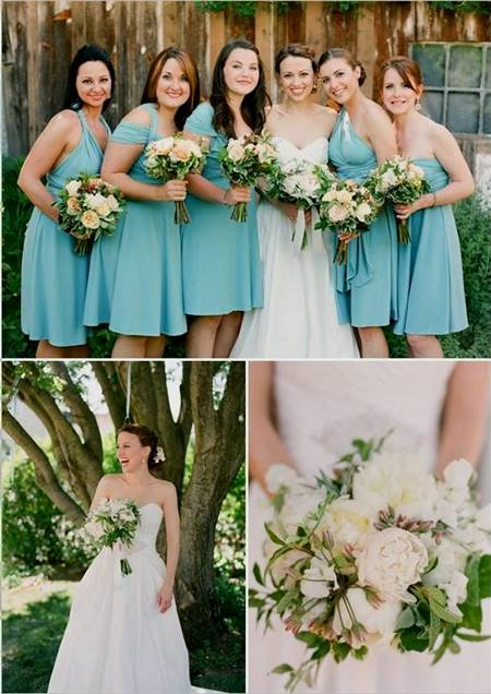 tiffany blue and brown bridesmaid dresses