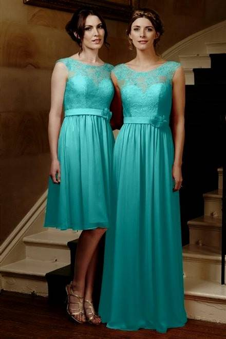 tiffany blue and coral bridesmaid dresses