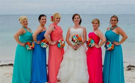 turquoise and pink bridesmaid dresses