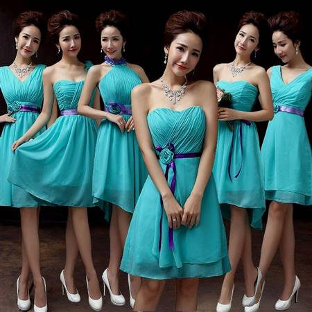 turquoise blue and pink bridesmaid dresses