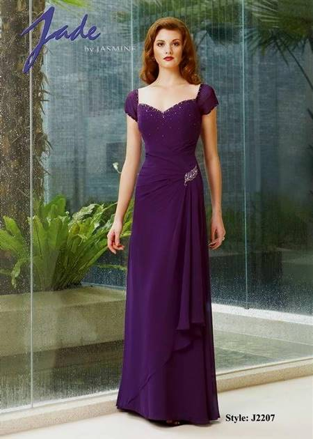 violet gown with sleeves