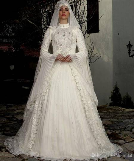 wedding dress with collar and sleeves
