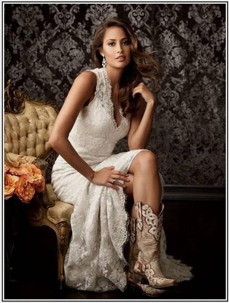 Western Wedding Dress With Boots B2b Fashion