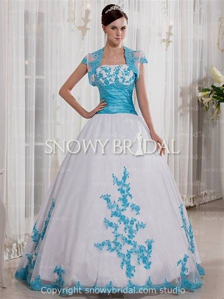 white and blue wedding dresses
