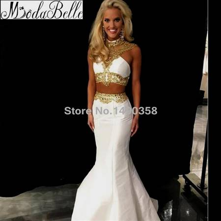 white and gold mermaid prom dresses