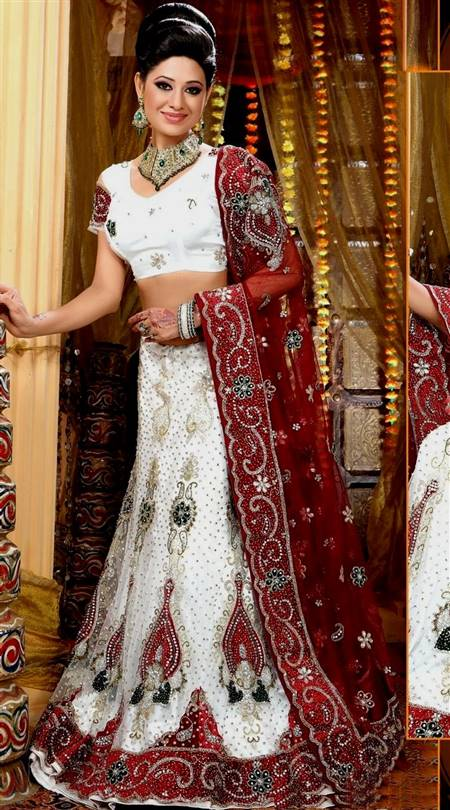 white and red indian wedding dresses