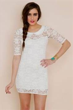 white dresses with sleeves for graduation