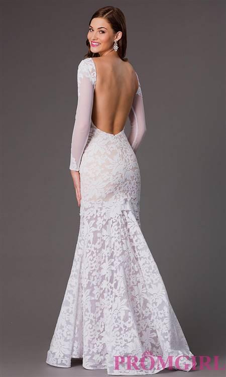 white lace mermaid prom dress