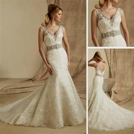 white mermaid wedding dresses with bling