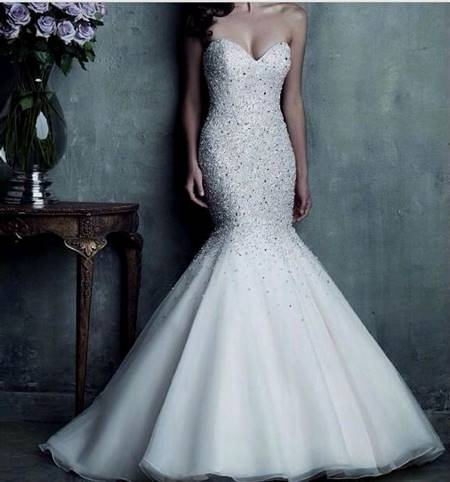 white mermaid wedding dresses with bling