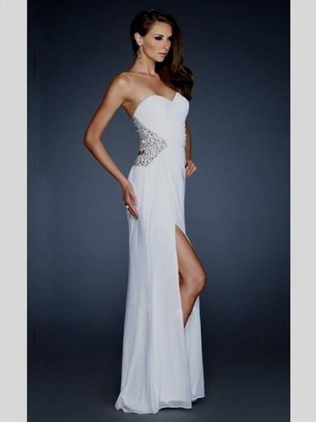 white strapless prom dresses
