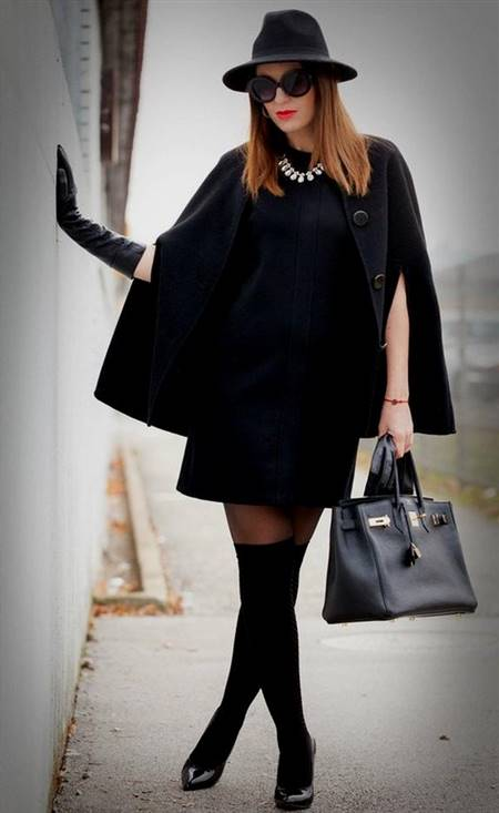 winter black dress outfit ideas