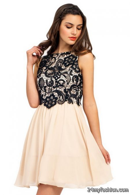 Cream and black lace dress review