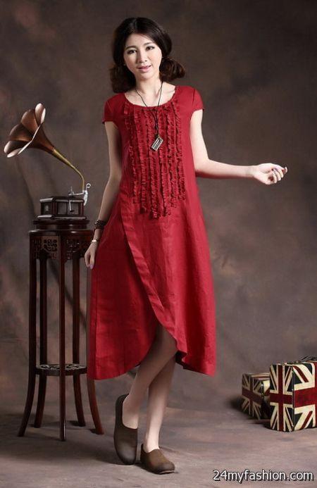 Red linen dress review