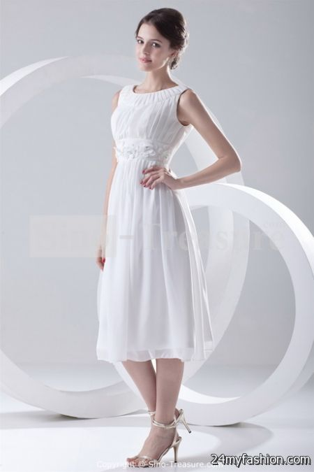 White tea length dress review