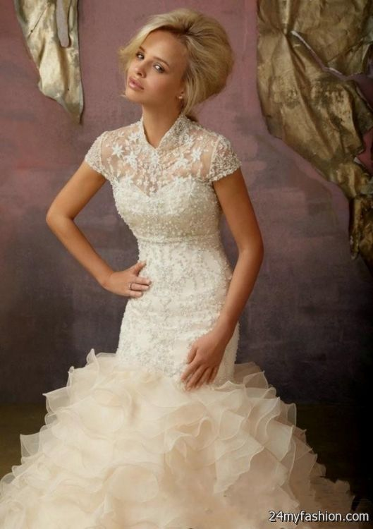 beige mermaid wedding dress