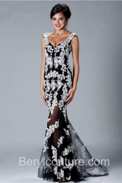 black and white lace prom dress with sleeves