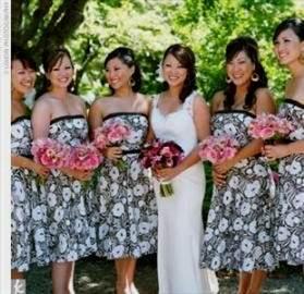 black and white print bridesmaid dresses