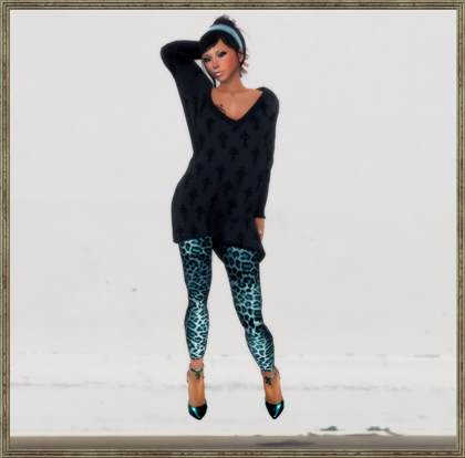 black sweater dress with leggings