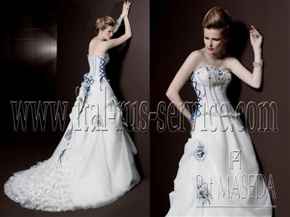 blue accented wedding dress | B2B Fashion