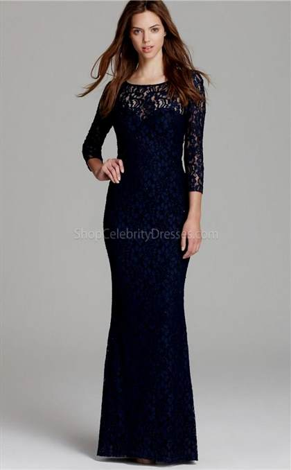 blue long sleeve lace prom dress
