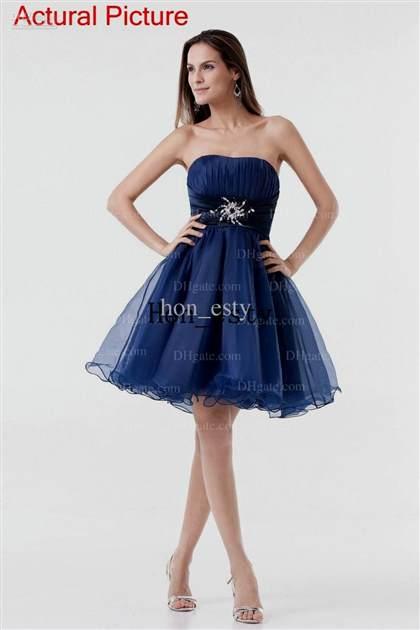 blue strapless cocktail dress