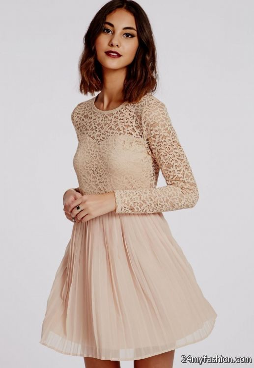 lace skater dress with sleeves