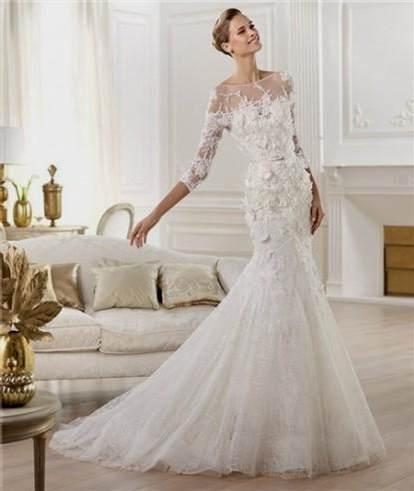 lace sleeve wedding dress open back