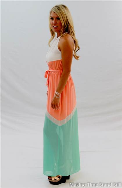 mint and coral maxi dress