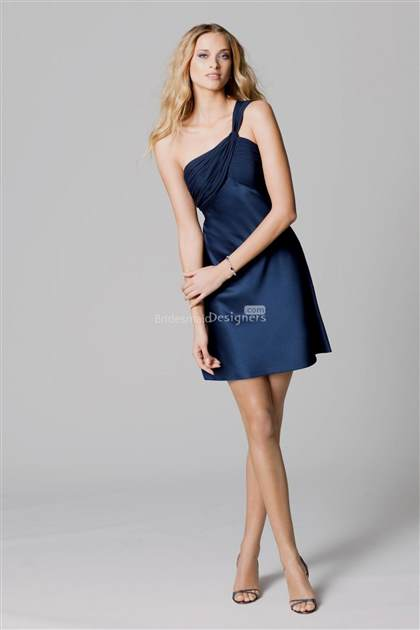 navy blue bridesmaid dress one shoulder