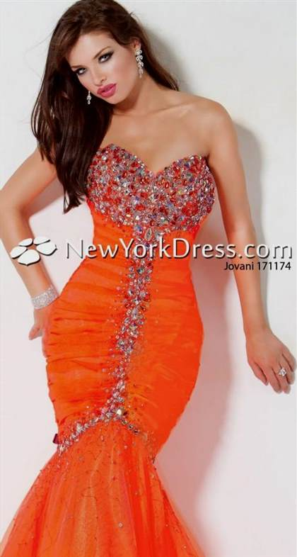 orange mermaid style prom dresses
