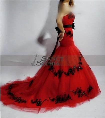 red and black mermaid wedding dresses