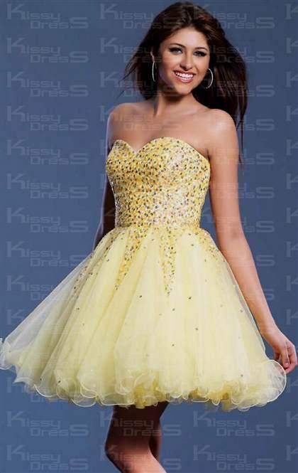short yellow formal dresses