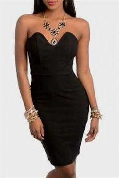 strapless black fitted dress