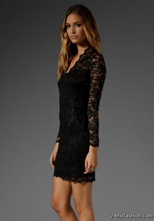 v neck long sleeve black lace dress review