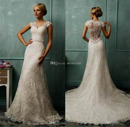 vintage lace wedding dresses with capped sleeves