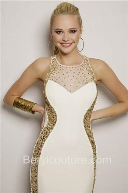 white and gold fitted prom dresses