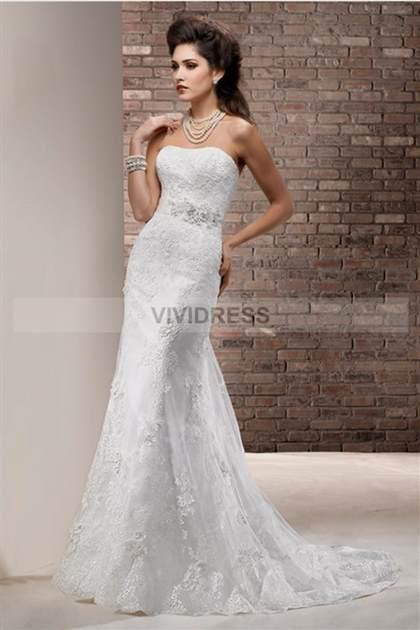 white lace strapless wedding dresses