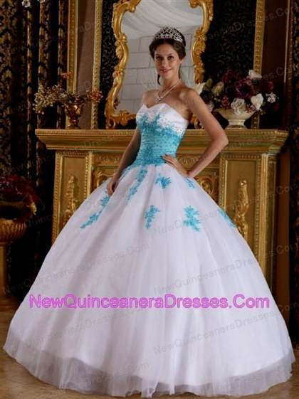 white quinceanera dresses with blue diamonds