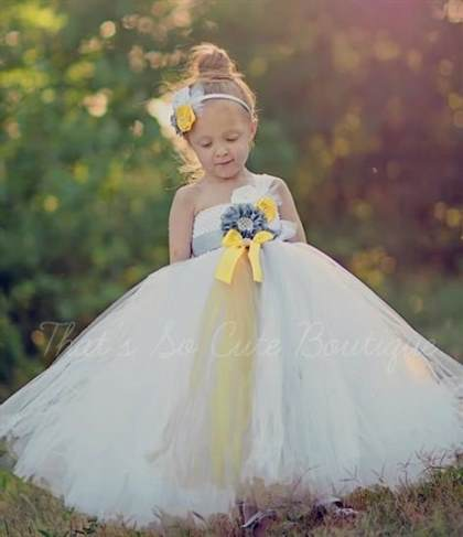 yellow and grey flower girl dresses