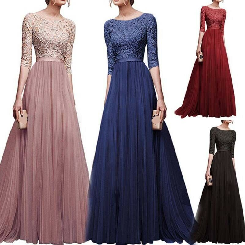 f5ab015c6c0e9 Awesome Womens Lace Long Evening Dress Formal Party Prom Bridesmaid  Cocktail Gowns S-3XL 2018