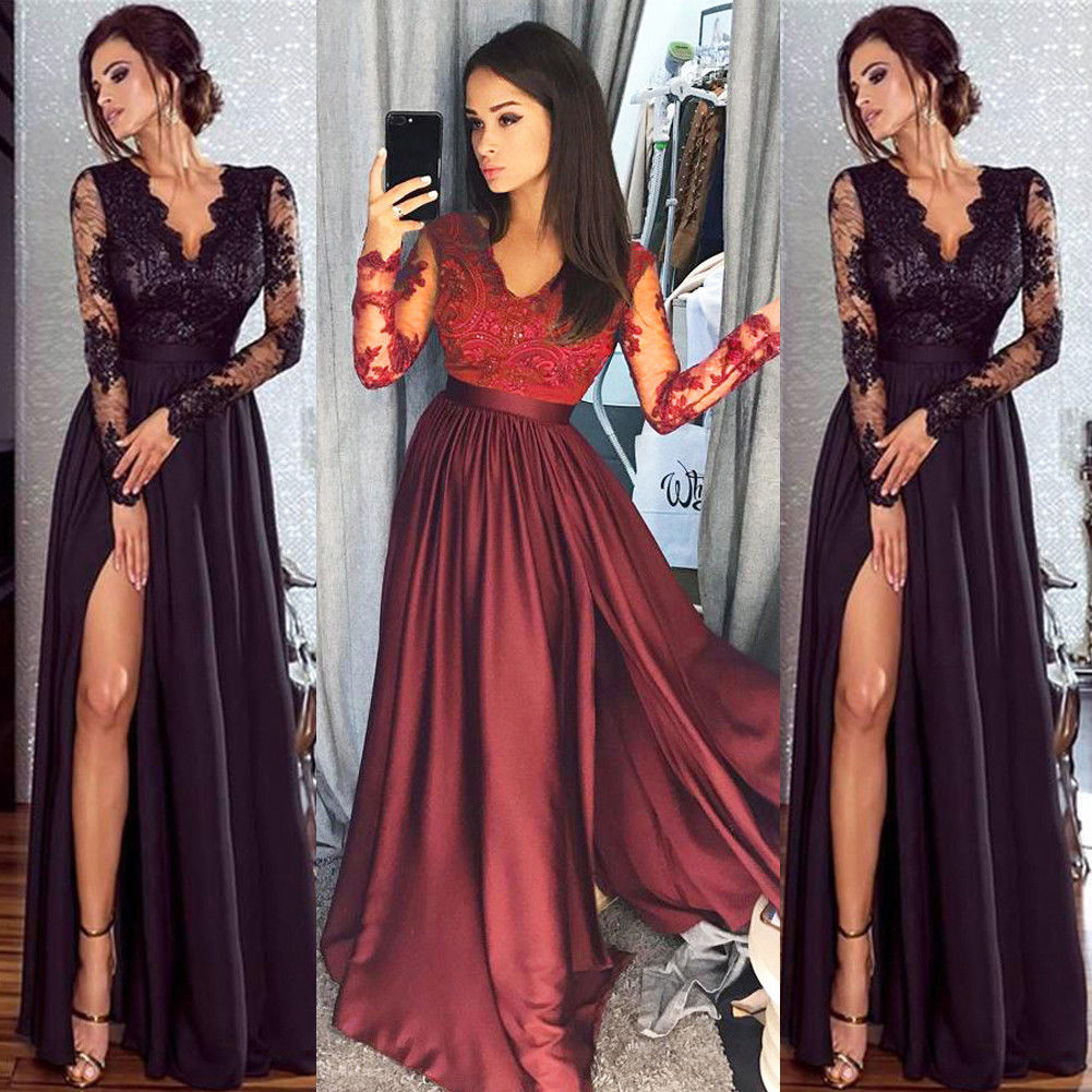 Dressing Gowns For Women: Great US Womens Lace Chiffon Dress Formal Ball Gown Prom