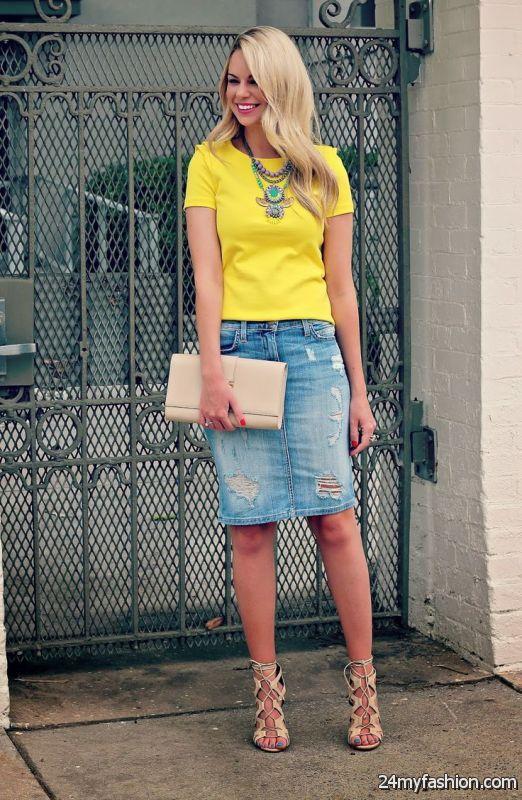 25 Ways To Wear Denim Skirts 2019-2020